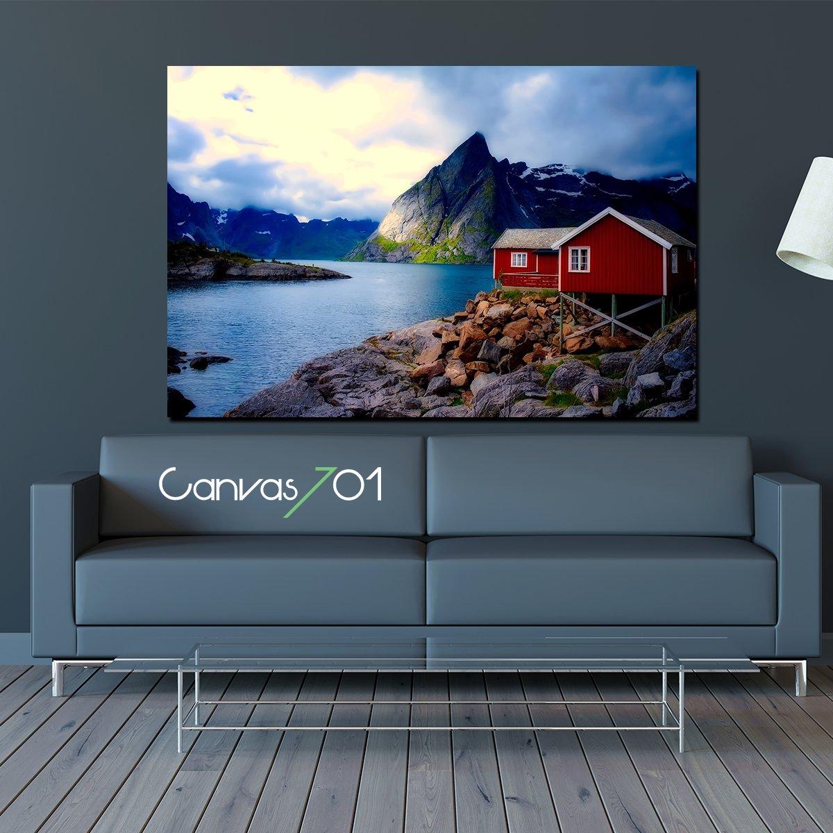 Göl Yanında Bir Ev Kanvas Tablo