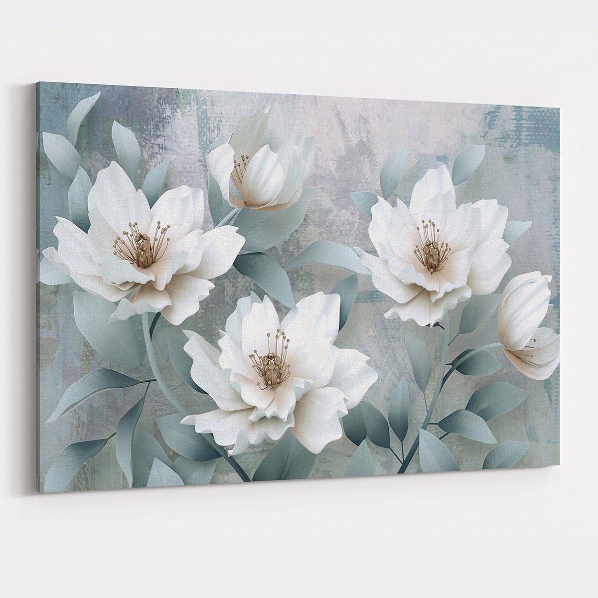 Çiçek Çizimleri Kanvas Tablo