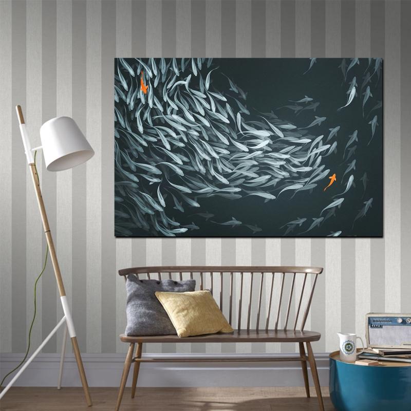 İki Turuncu Balık Kanvas Tablo