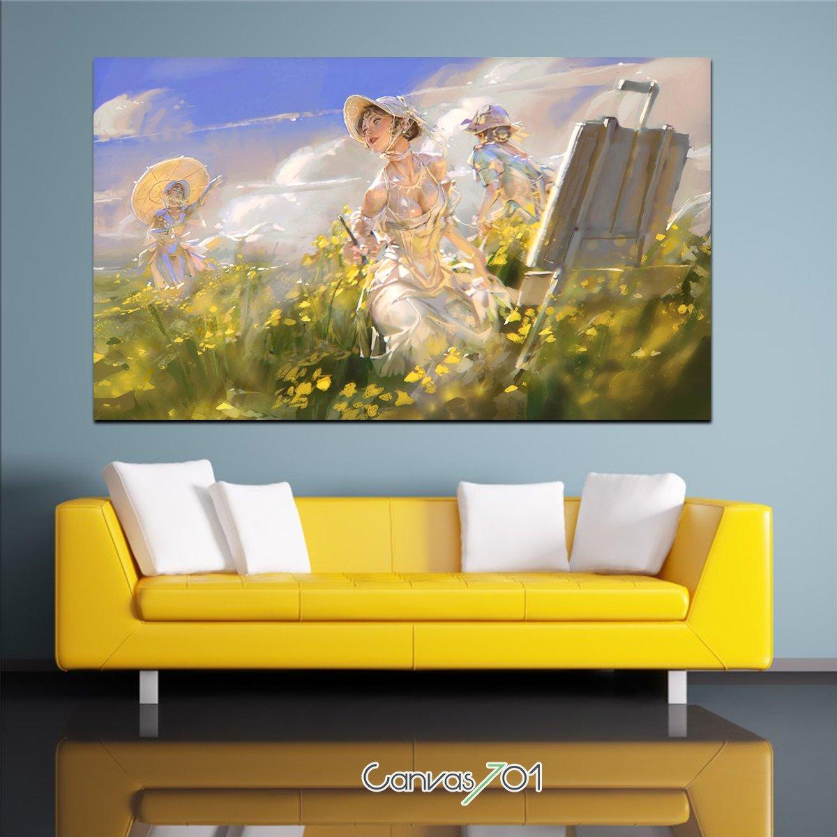 Yağlı Boya Sarı Papatyalar ve Kadın Kanvas Tablo