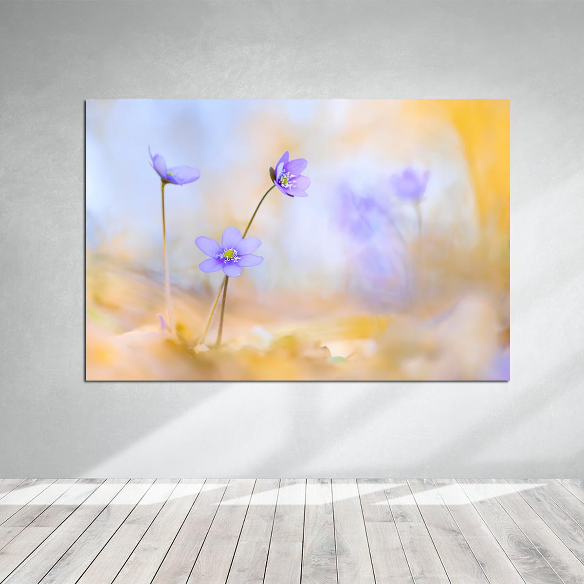 Ebruli Zemin Çiçekler Kanvas Tablo