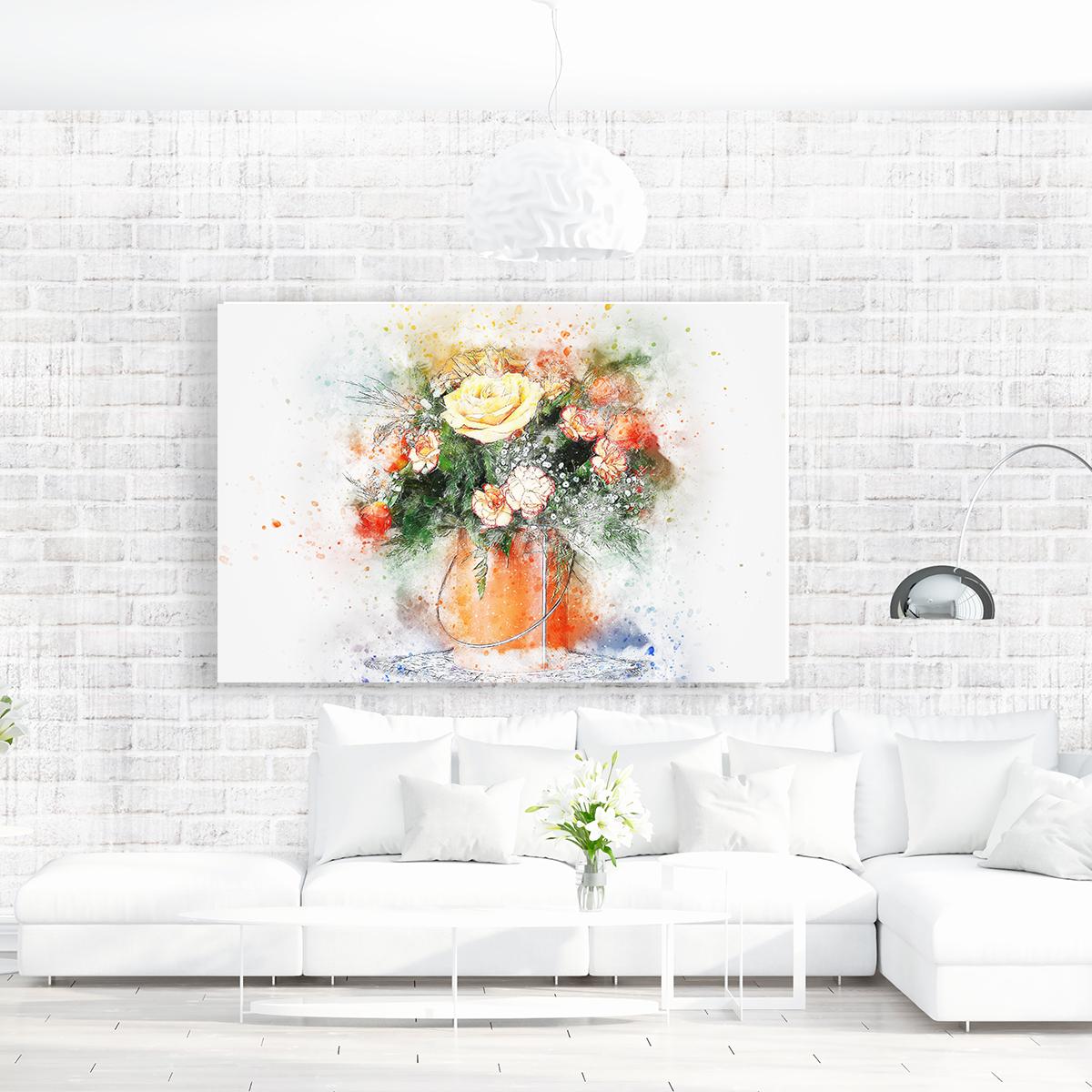 Renkli Çiçekler Vazoda Kanvas Tablo
