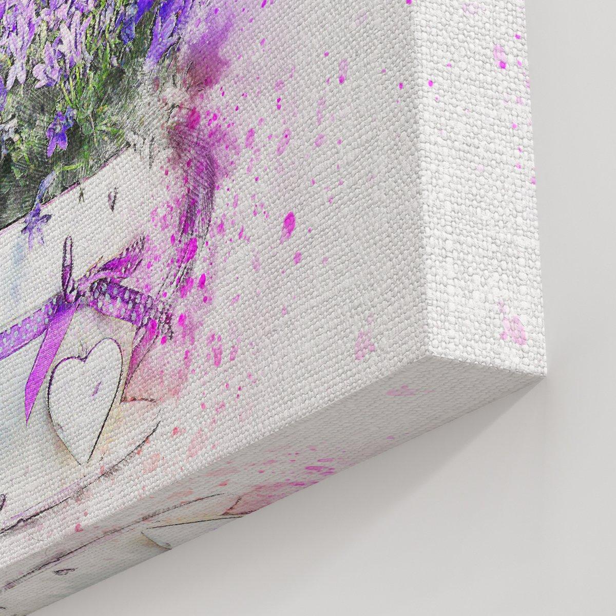 Saksılı Mor Çiçek Kanvas Tablo