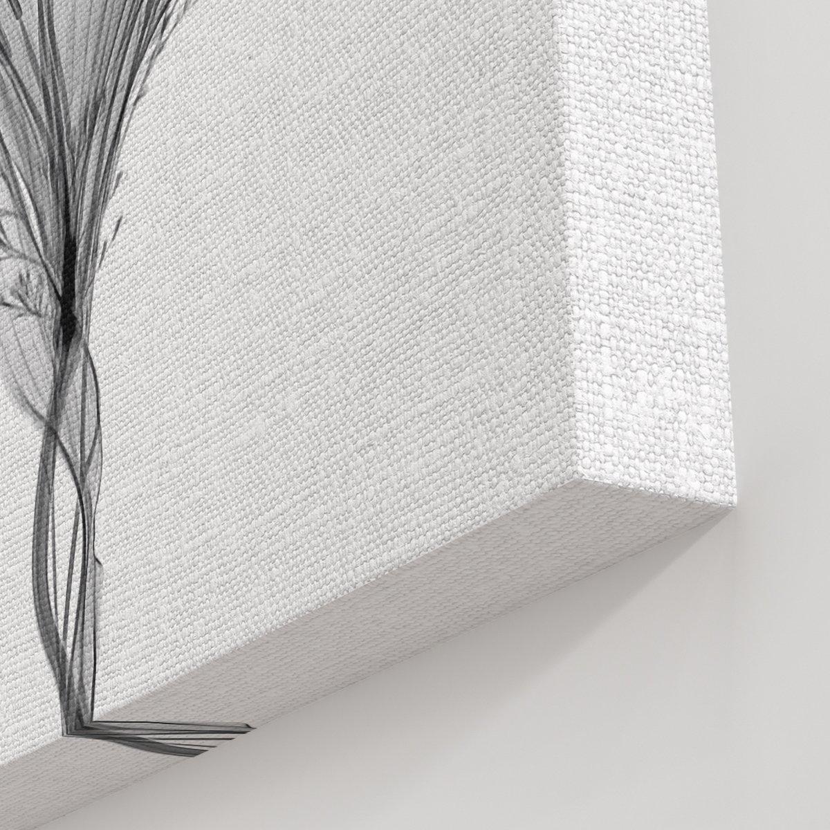 Siyah Beyaz Çiçekler Kanvas Tablo