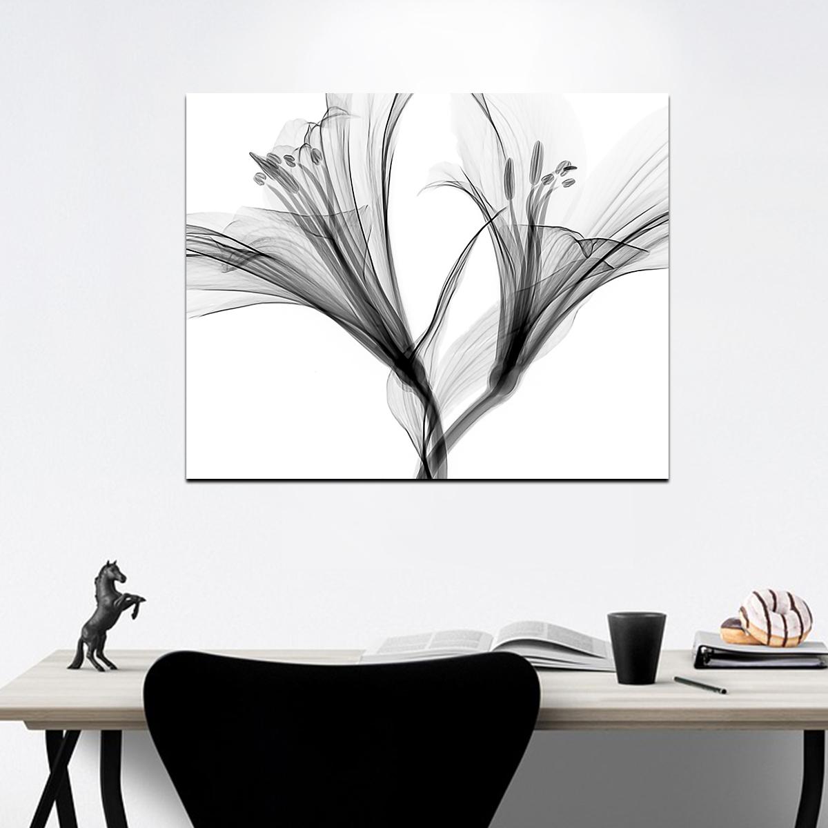 Siyah Beyaz Çiçekler 2 Kanvas Tablo