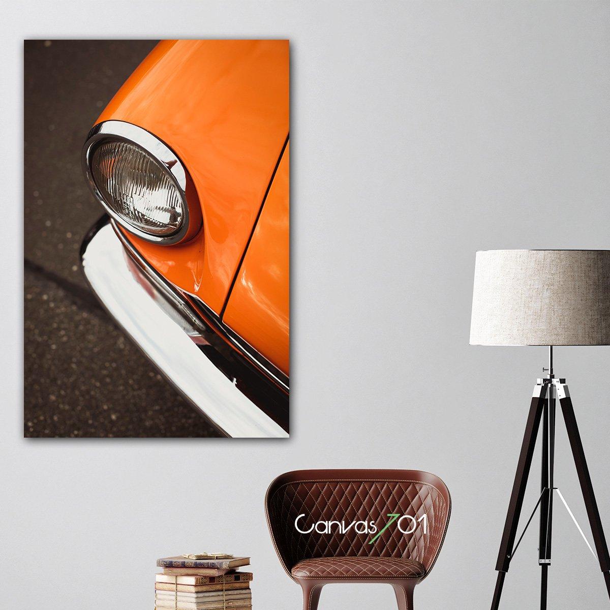 Turuncu Eski Model Araba Kanvas Tablo