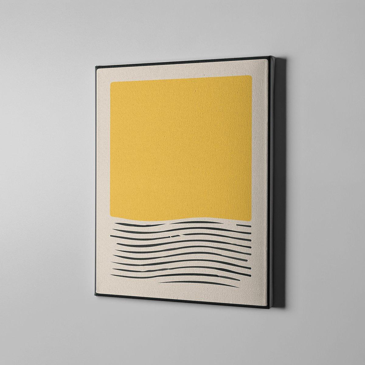 Sarı Desenli Çizgili Kanvas Tablo