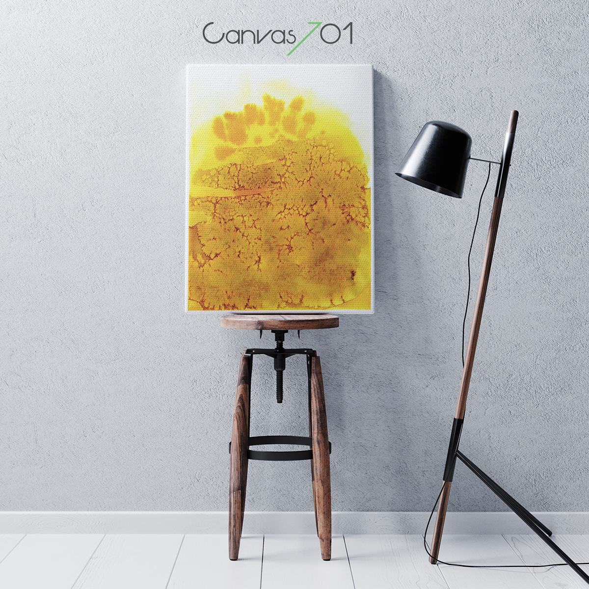 Sarı Sulu Boya Görünümlü Kanvas Tablo