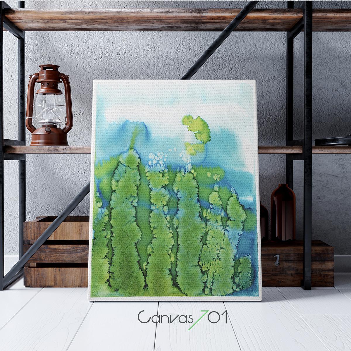 Sulu Boya Görünümlü Kanvas Tablo