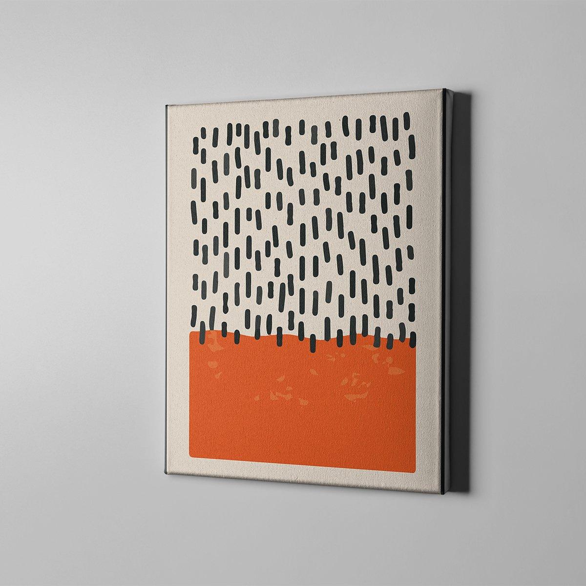 Turuncu Desen Kanvas Tablo
