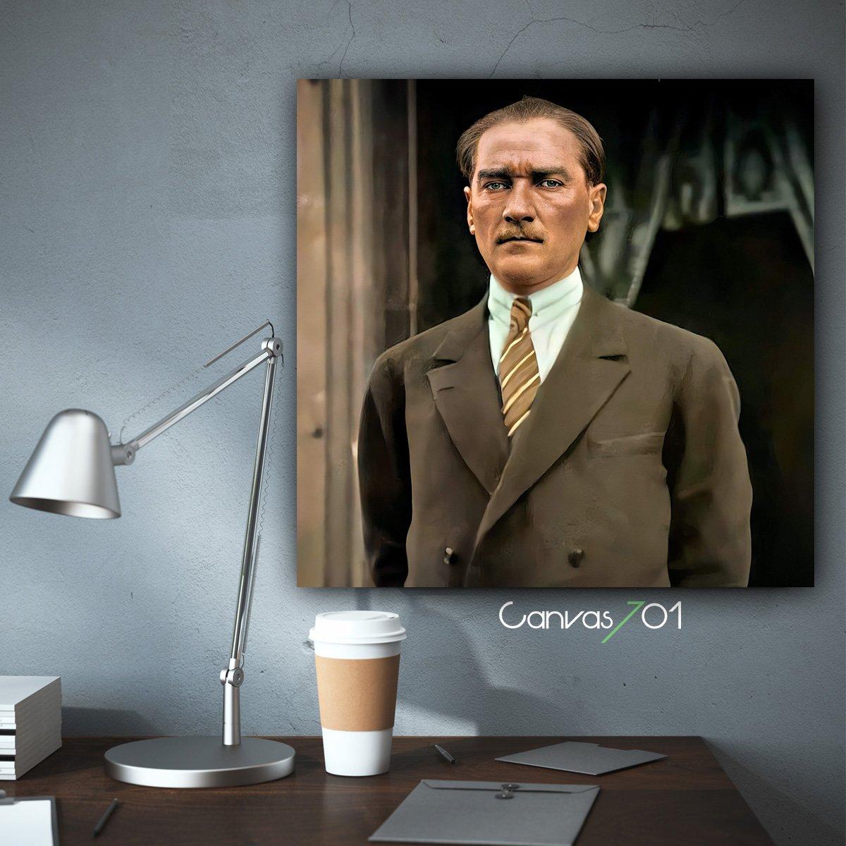 Yüksek Çözünürlüklü Atatürk Portre Kanvas Tablo